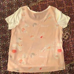 Aritzia Babaton Floral Silk Back T shirt